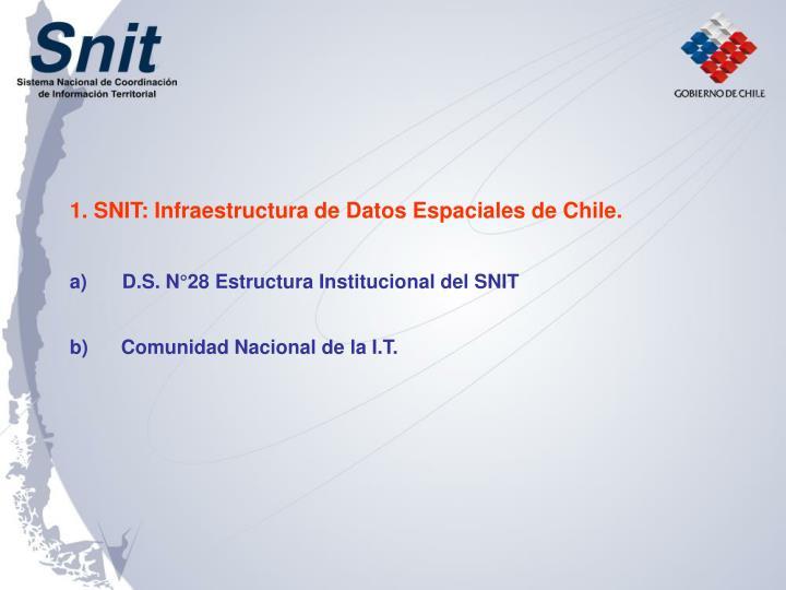 1. SNIT: Infraestructura de Datos Espaciales de Chile.