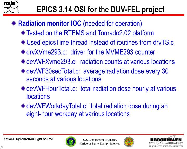 EPICS 3.14 OSI for the DUV-FEL project