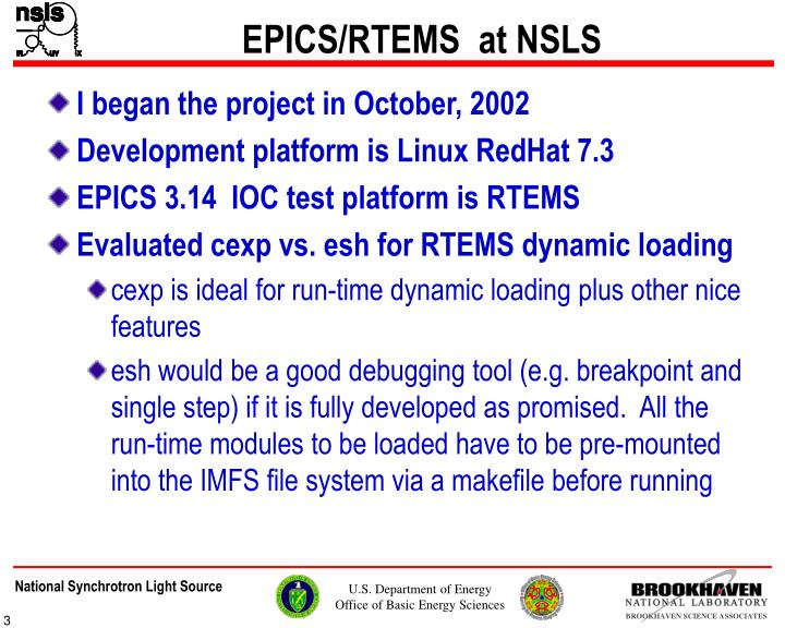 Epics rtems at nsls1