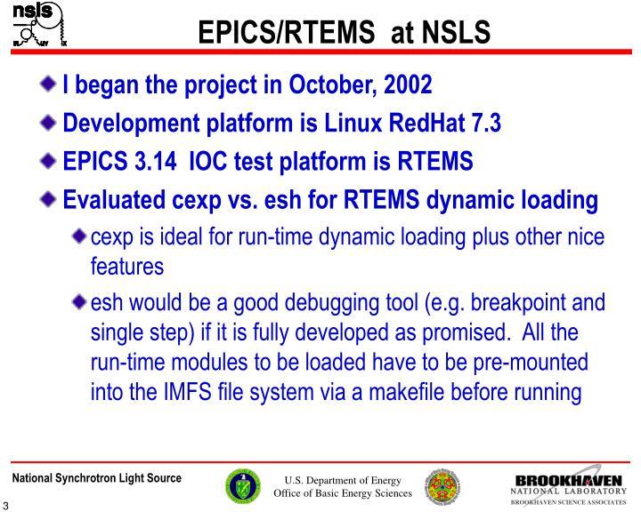 EPICS/RTEMS  at NSLS