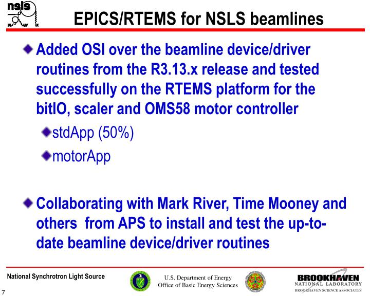EPICS/RTEMS for NSLS beamlines