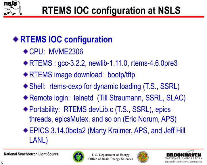 RTEMS IOC configuration at NSLS