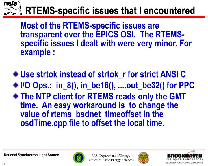 RTEMS-specific issues that I encountered