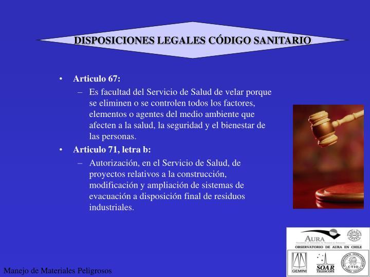 DISPOSICIONES LEGALES CÓDIGO SANITARIO