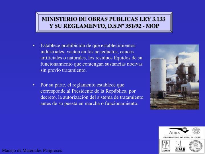 MINISTERIO DE OBRAS PUBLICAS LEY 3.133