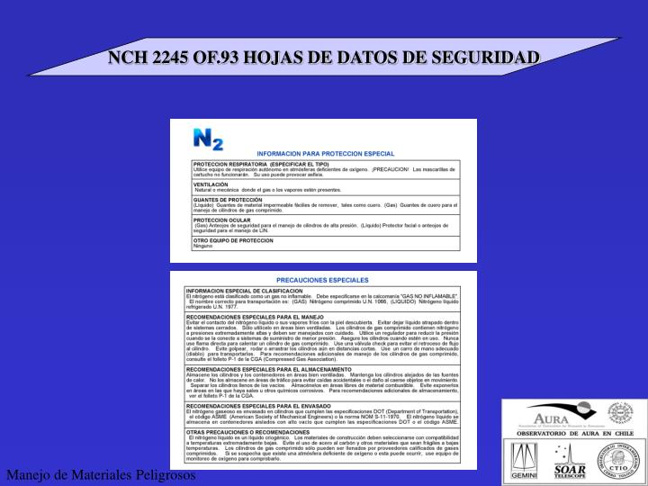 NCH 2245 OF.93 HOJAS DE DATOS DE SEGURIDAD