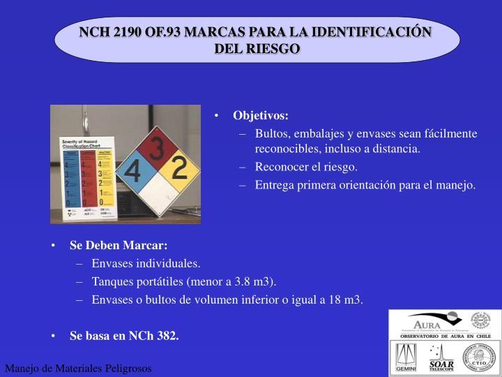 NCH 2190 OF.93 MARCAS PARA LA IDENTIFICACIÓN