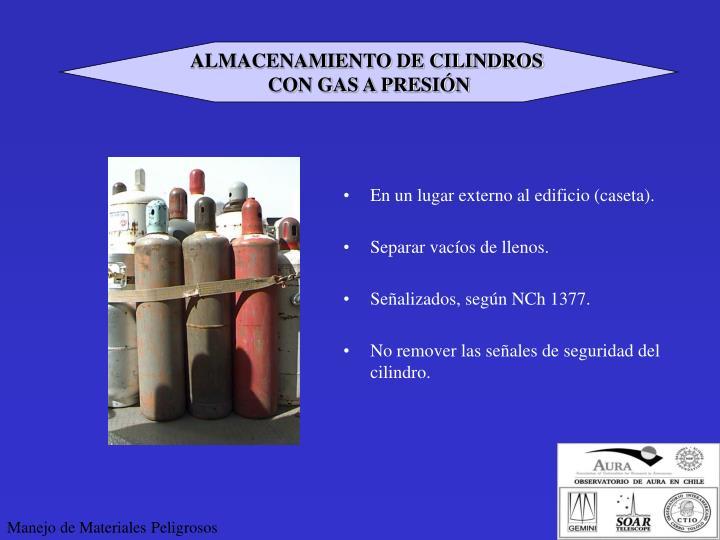 ALMACENAMIENTO DE CILINDROS