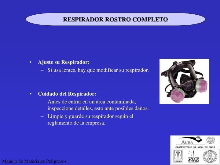 RESPIRADOR ROSTRO COMPLETO