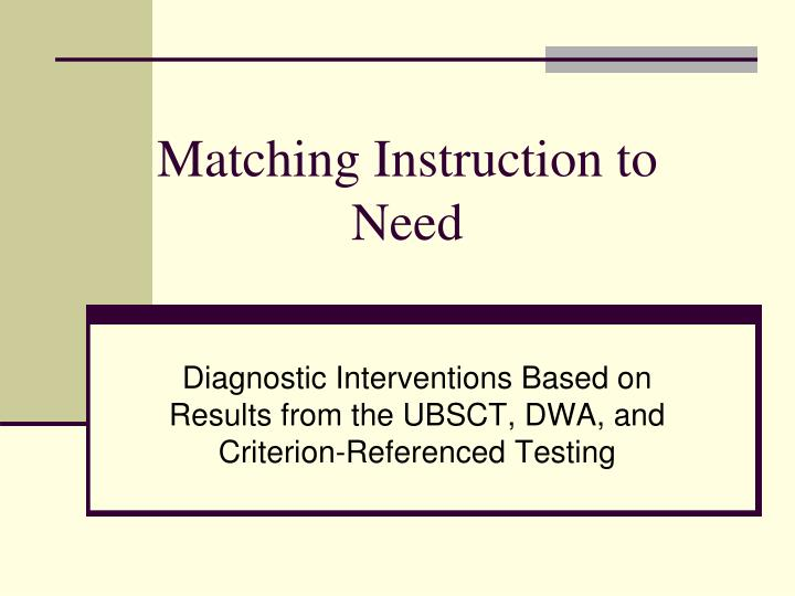 Matching instruction to need