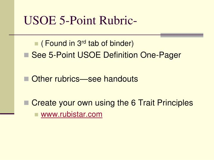 USOE 5-Point Rubric-