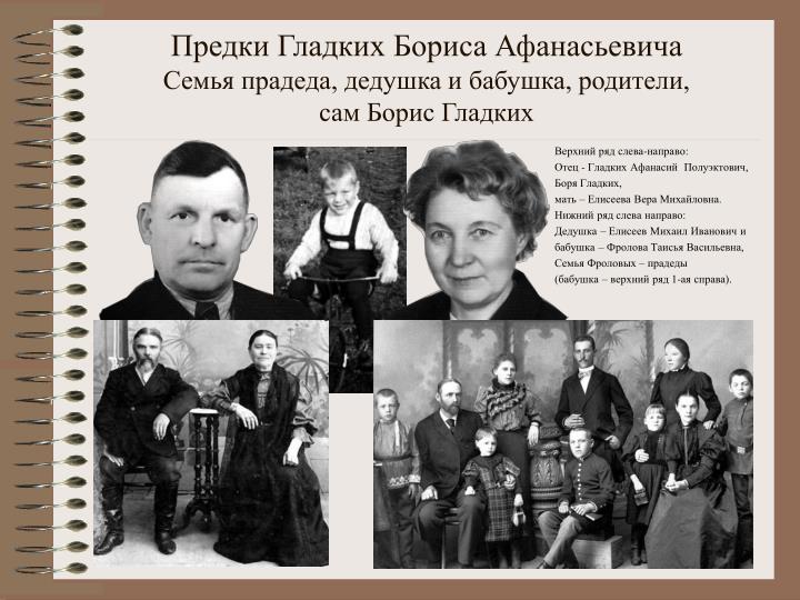 Предки Гладких Бориса Афанасьевича