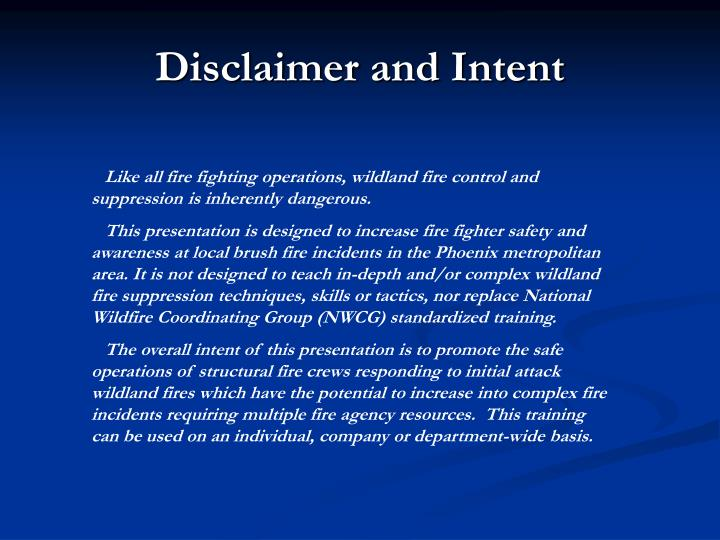 Disclaimer and Intent
