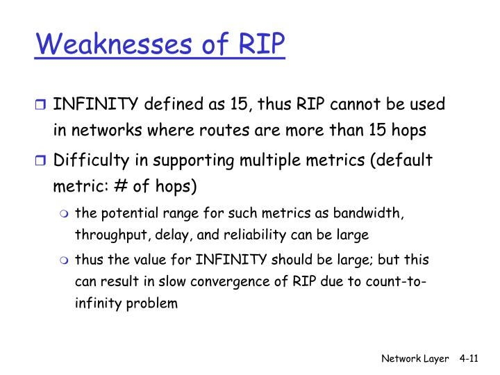 Weaknesses of RIP
