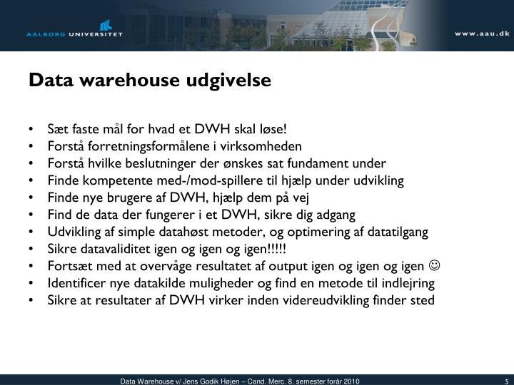 Data warehouse udgivelse
