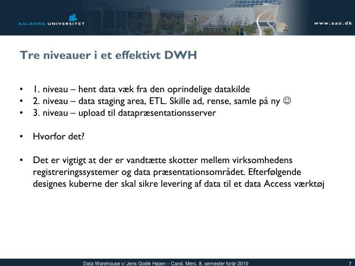 Tre niveauer i et effektivt DWH