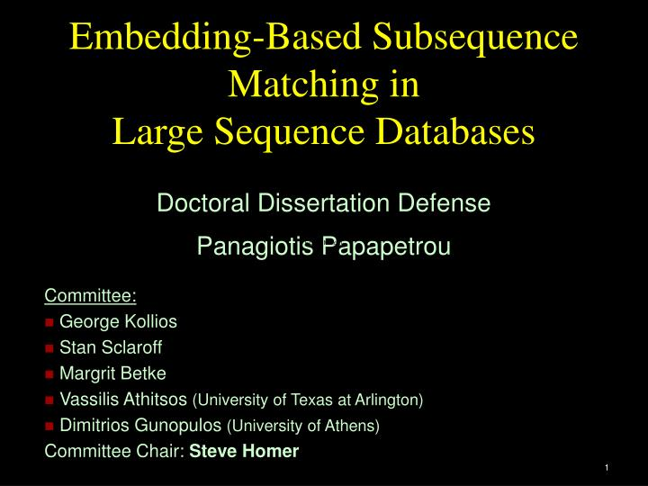 Embedding based subsequence matching in large sequence databases