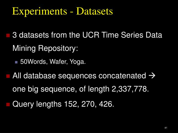 Experiments - Datasets