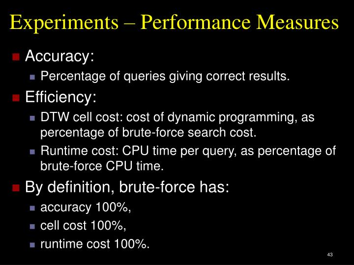 Experiments – Performance Measures