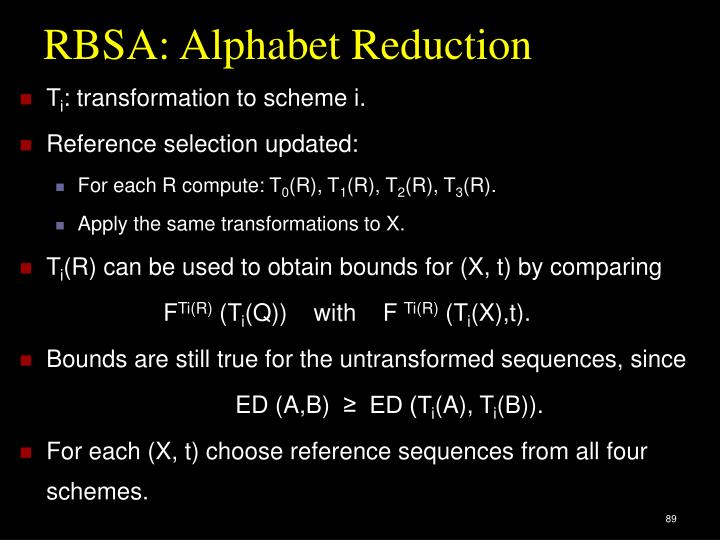RBSA: Alphabet Reduction