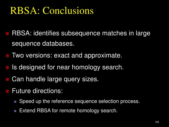 RBSA: Conclusions