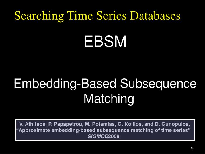 Searching Time Series Databases