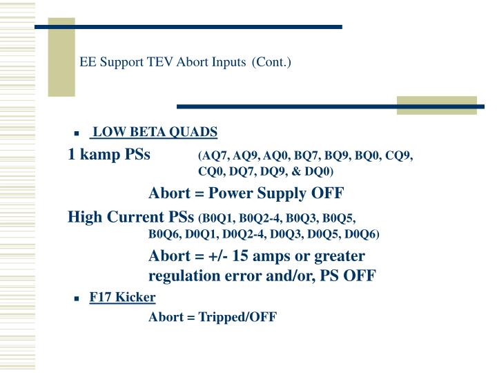 EE Support TEV Abort Inputs
