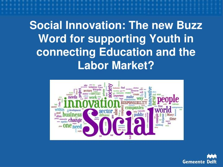 Social Innovation: The new Buzz Word for supporting Youth in connecting Education and the Labor Mark...