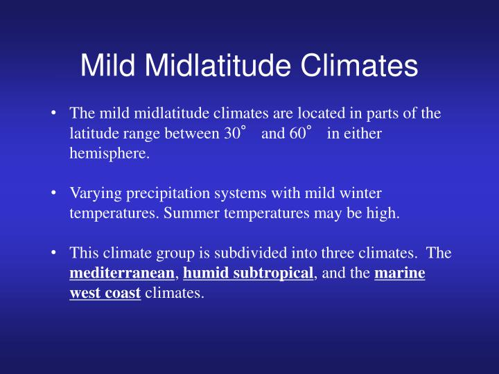Mild Midlatitude Climates