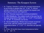 summary the koeppen system
