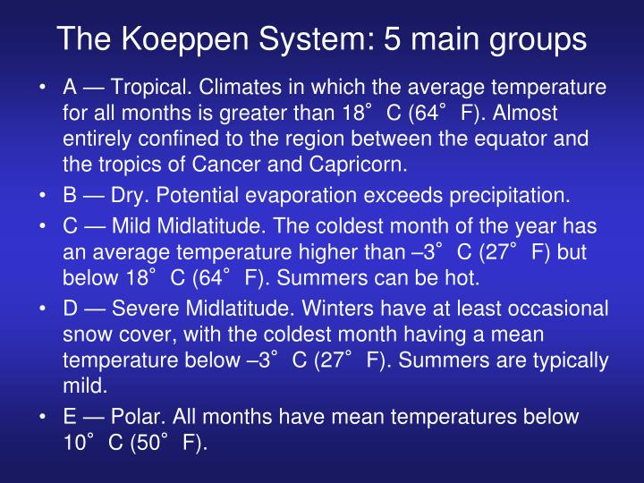 The Koeppen System: 5 main groups
