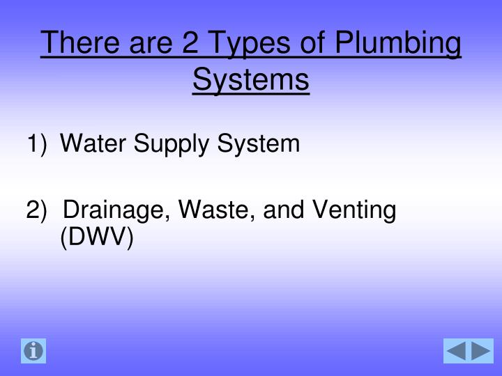 There are 2 Types of Plumbing Systems