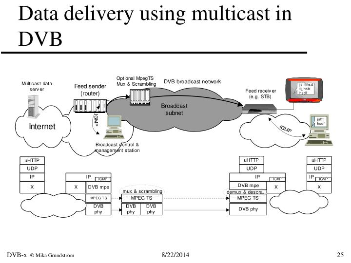 Data delivery using multicast in DVB