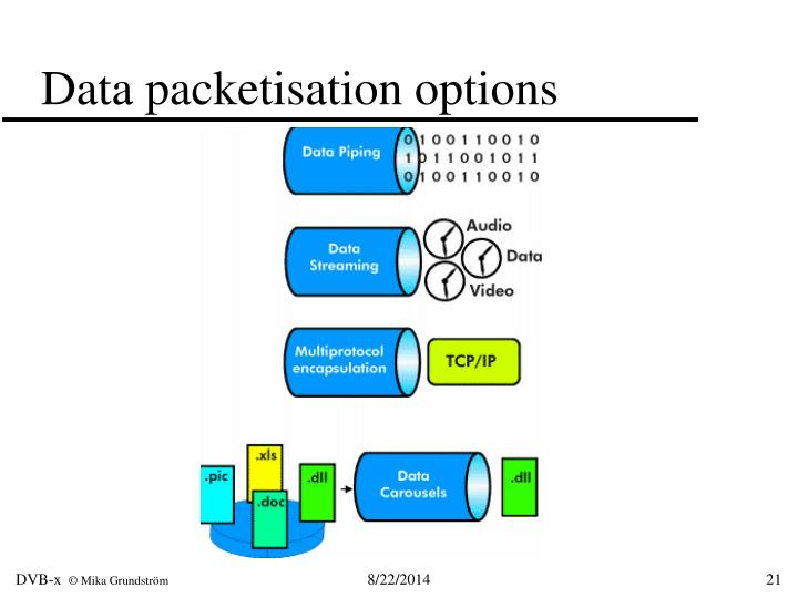 Data packetisation options