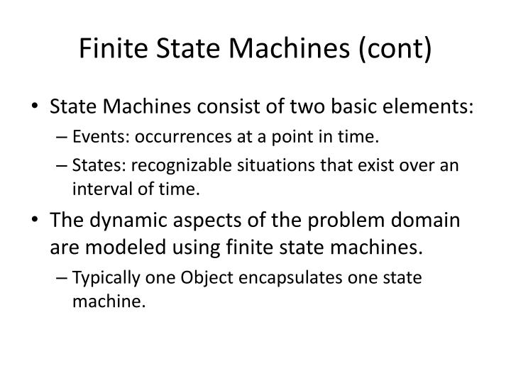 Finite state machines cont