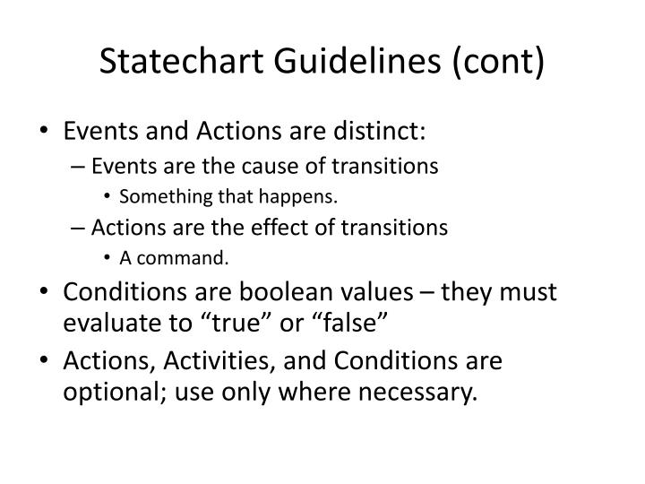 Statechart Guidelines (cont)