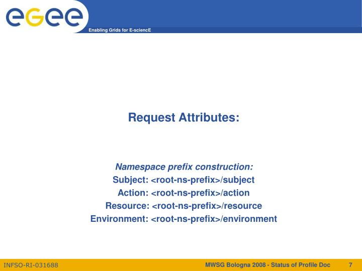 Request Attributes: