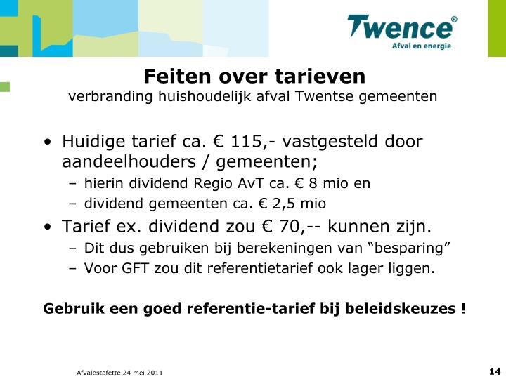 Feiten over tarieven