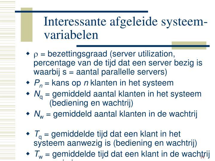 Interessante afgeleide systeem-