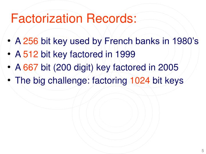 Factorization Records: