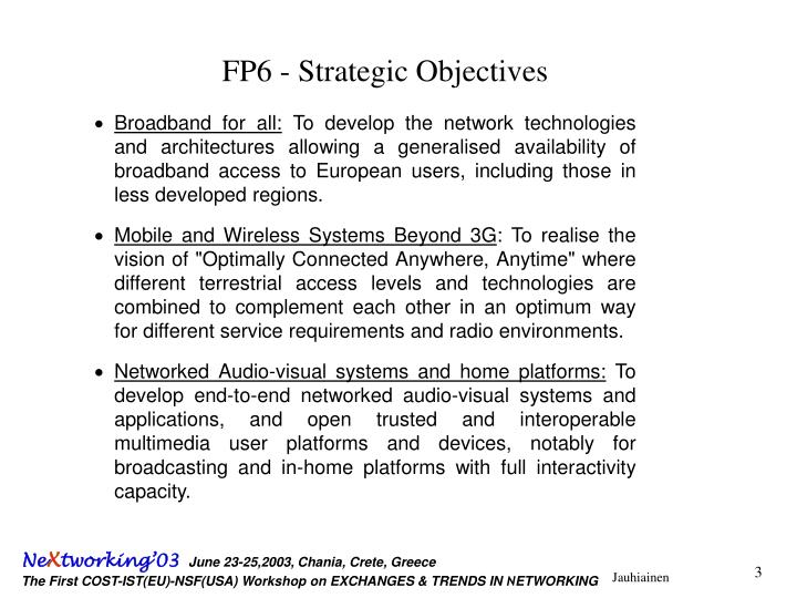 Fp6 strategic objectives