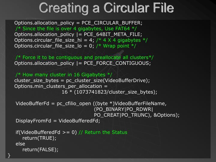 Creating a Circular File