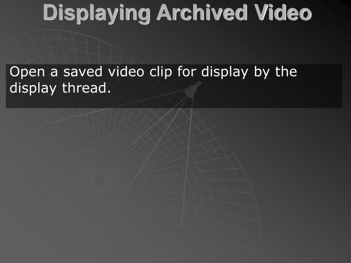 Displaying Archived Video