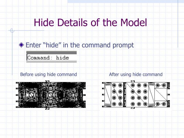 Hide Details of the Model