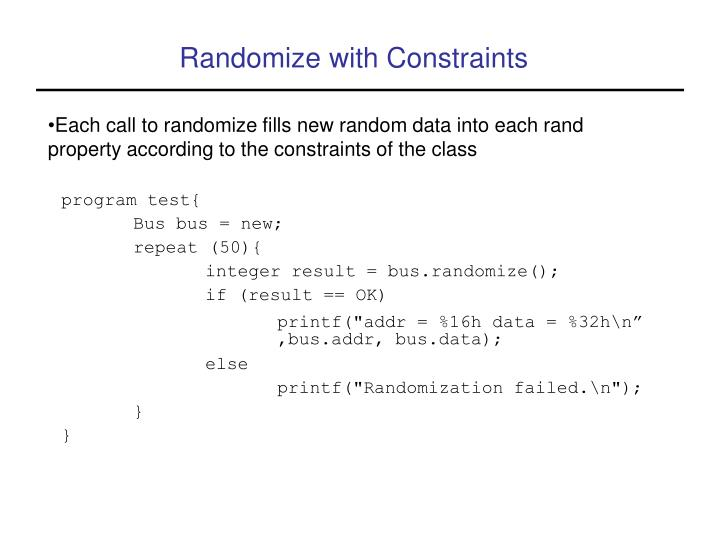 Randomize with Constraints