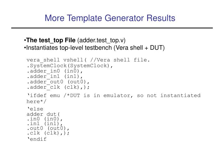 More Template Generator Results
