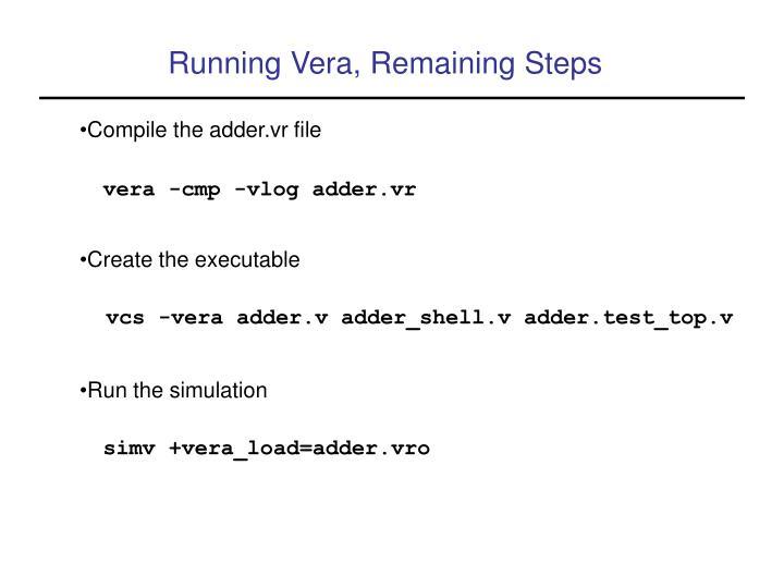 Running Vera, Remaining Steps