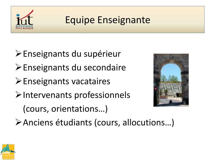 Programme Pédagogique Equipe enseignante