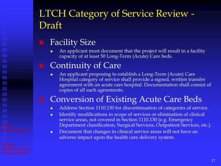 LTCH Category of Service Review - Draft