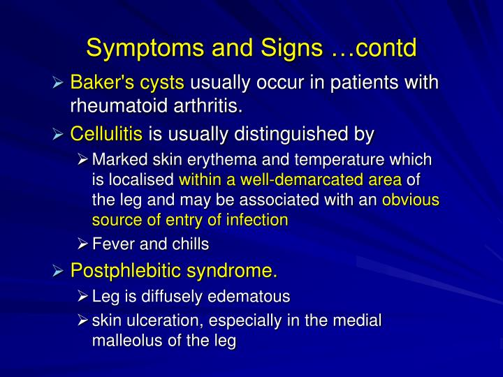 Symptoms and Signs …